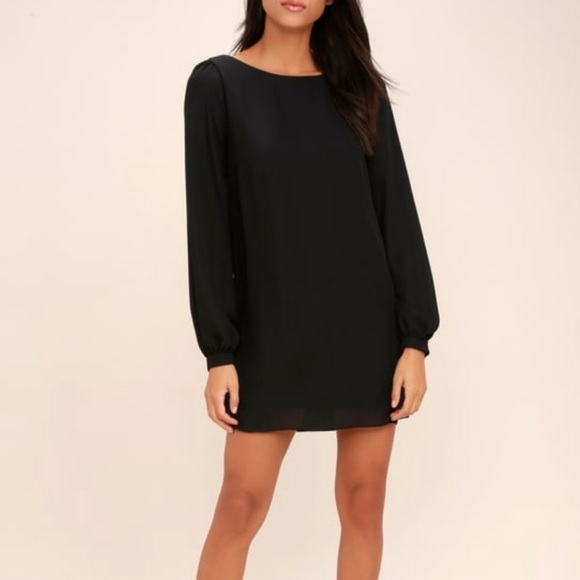 Lulu's Dresses & Skirts - Lulu's black shift dress sheer sleeve mini dress
